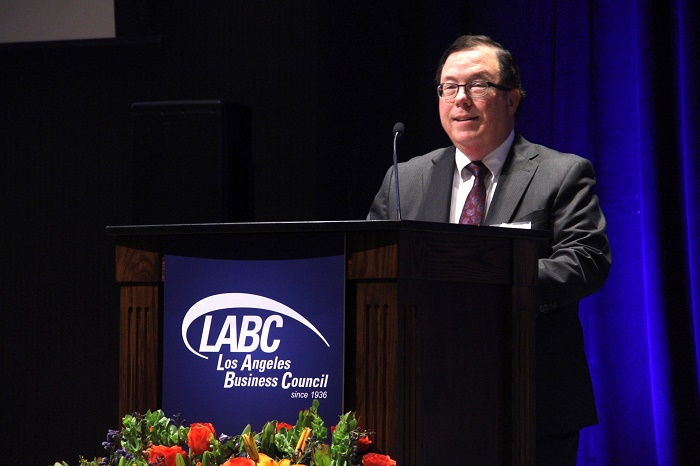 Chief Banking Officer Stephen Traynor addresses the more than 600 business and government leaders attending the 2019 LABC Summit.