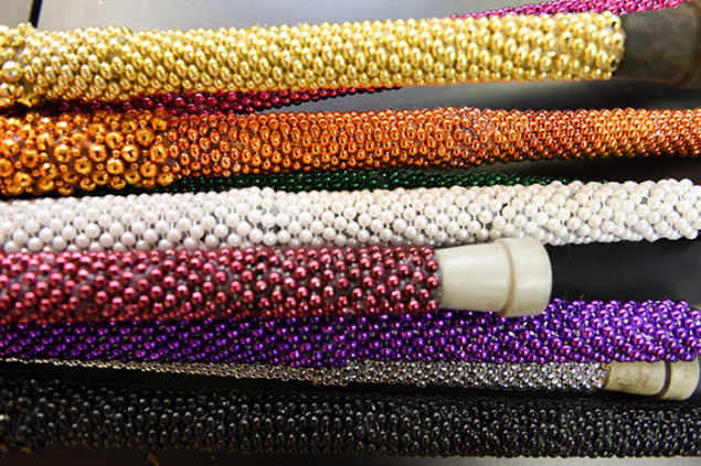 Theresa's product line of custom designs includes these fabulous bejeweled walking canes.